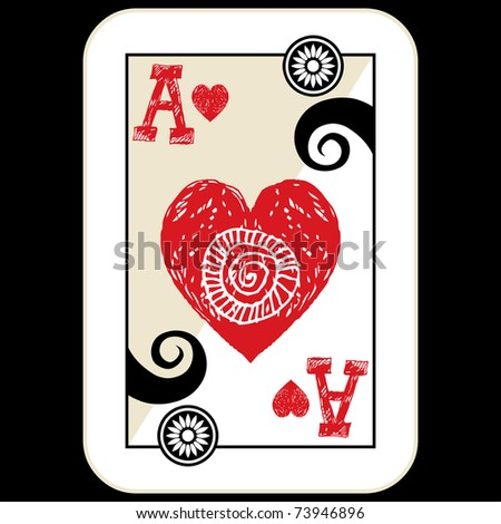 hand drawn deck of cards, doodle ace of hearts - stock photo