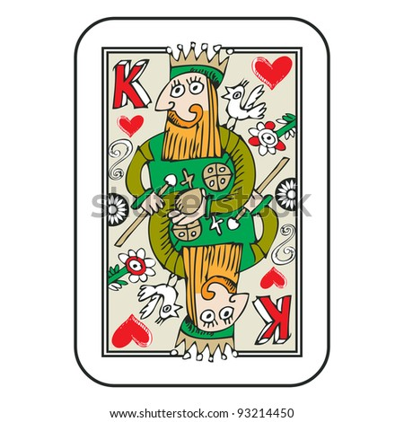 hand drawn deck of cards, doodle king of hearts isolated on white background - stock photo