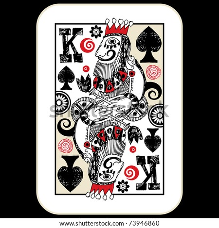 hand drawn deck of cards, doodle king of spades - stock photo