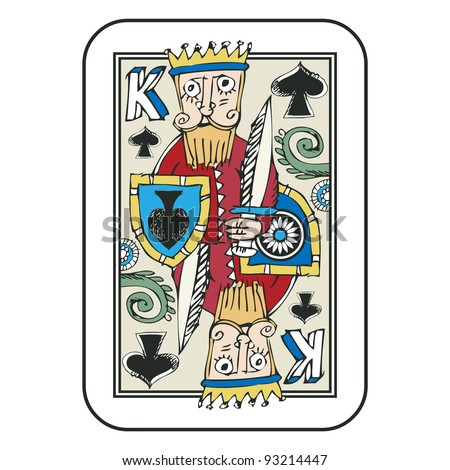 hand drawn deck of cards, doodle king of spades isolated on white background - stock photo