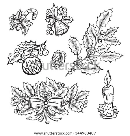 Hand drawn decorative christmas decorations with holly berries, design elements. Can be used for cards, invitations, gift wrap, print, scrapbooking. Christmas and New Year background - stock photo