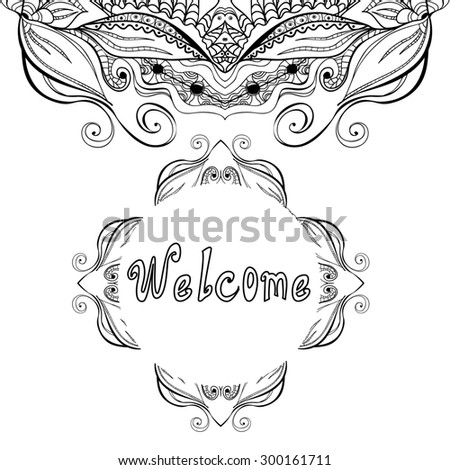 "Hand drawn decorative design elements, frames maps with the inscription ""welcome"", linear, raster copy of illustration - stock photo"