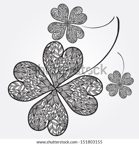 hand drawn decorative four leaf clovers, symbol of luck - stock photo