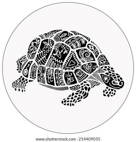 Hand drawn decorative turtle, ethnic ornamental pattern, graphic tattoo style, isolated on white background, raster version - stock photo