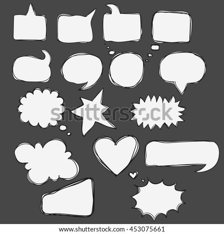 Hand drawn doodle bubbles for speech, talk, think, word, text, letters, dialogue, conversation. Different frame for text as cloud, square, circle, heart, explosion, bubble sketch lines to comics - stock photo