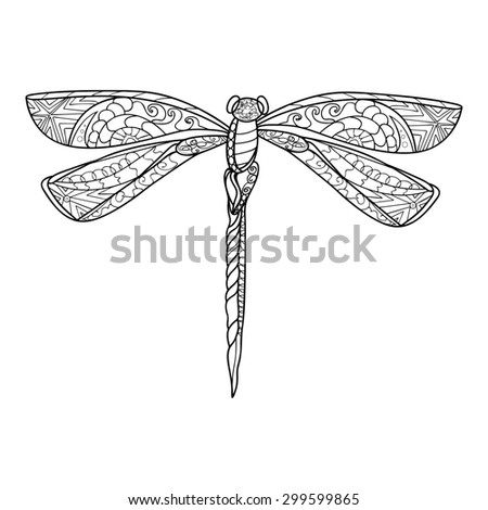 Hand drawn Doodle Dragonfly, black-and-white linear style, raster copy of illustration - stock photo