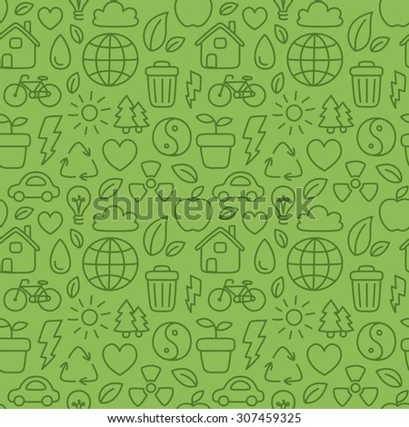 Hand drawn doodle ecology seamless pattern. - stock photo