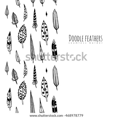 Hand drawn doodle feathers. Seamless border. Raster.