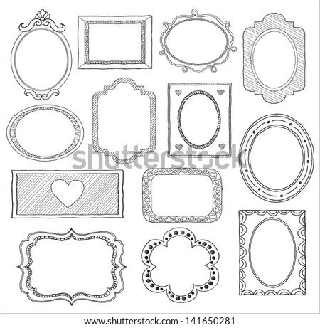 Hand drawn doodle frame set - stock photo