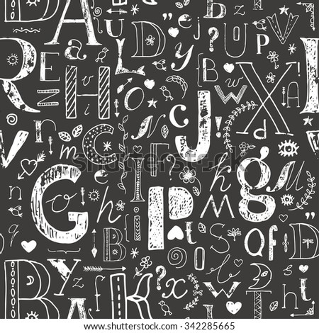 Hand drawn doodle letters and decorative elements seamless pattern. Monochrome background. White shabby sketch on black. - stock photo