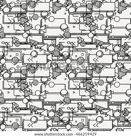 Hand drawn doodle seamless pattern. Geometric endless ornament.