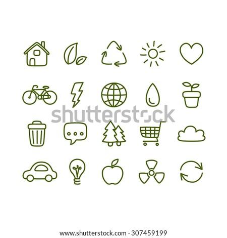 Hand drawn doodle style ecology icons. - stock photo