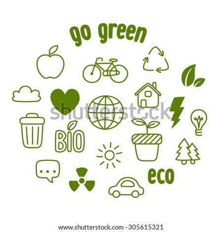 Hand drawn doodle style ecology themed symbols. - stock photo