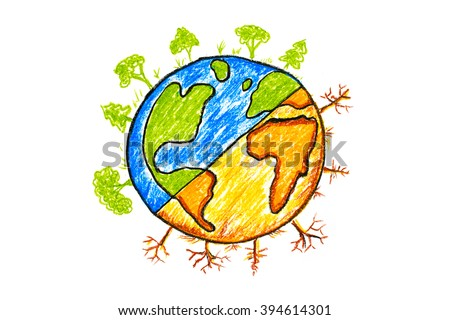 Hand drawn earth change icon on white/global warming concept - stock photo