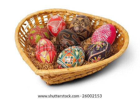 Hand-drawn Easter eggs in the basket. Isolated on white