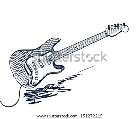 hand drawn electric guitar on white - stock photo