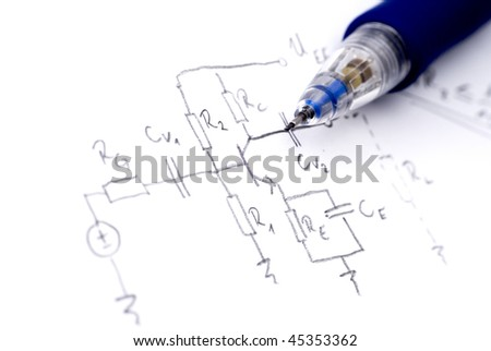 Hand drawn electronic schematics with pencil - stock photo