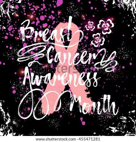 Hand drawn elegant Breast Cancer Awareness Month sign. Decorative retro typography with swirls and swashes. Custom modern calligraphy hand lettering with pink ribbon. Grunge texture in frame. - stock photo