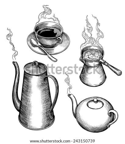 "Hand drawn engraving "" Tea  and coffee "". rasterized JPEG - stock photo"
