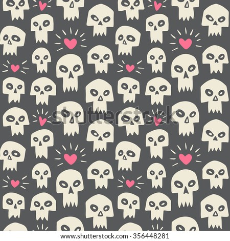 Hand drawn evil skulls with hearts seamless pattern. Valentines day funny background. Cute cartoon skulls with sharp vampire teeth and shining hearts. Theme of love and death design. Raster version. - stock photo