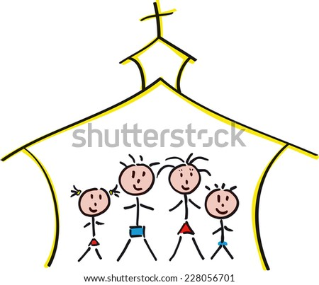 hand-drawn family in church - stock photo