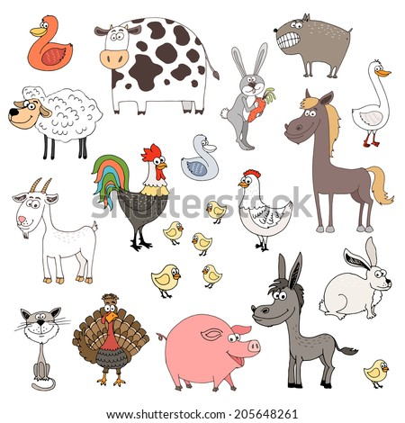 hand drawn farm animals set illustration - stock photo