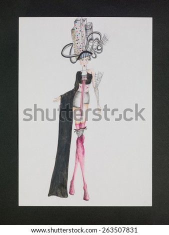 hand drawn fashion design sketch inspired by japanese culture - stock photo