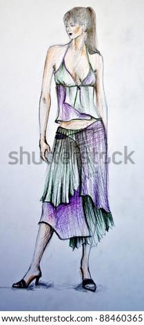 Hand-drawn fashion model - stock photo