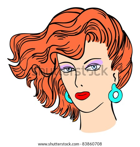 Hand-drawn fashion model.  illustration. Woman's face. Vector version also available in gallery.
