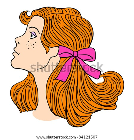 Hand-drawn fashion model.  illustration. Woman's face. Vector version also available in gallery - stock photo