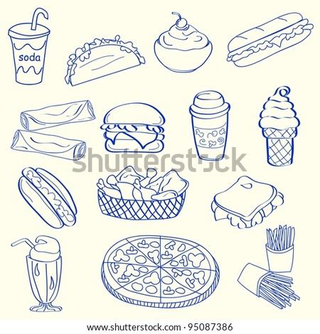 Hand Drawn Fast Food Icons - stock photo