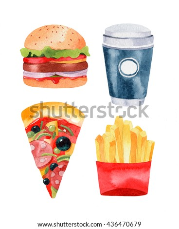 Hand drawn fast food.Watercolor illustration of hamburger, pizza, coffee cup and french fries