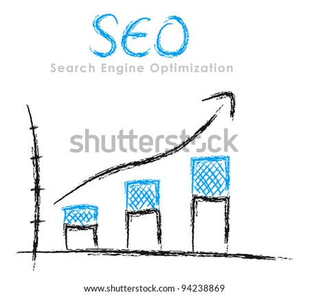 Hand-drawn finance statistics with arrow: Search Engine Optimization - stock photo