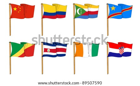 Hand-drawn Flags of the World - letter C