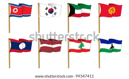 Hand-drawn Flags of the World - letter K & L - stock photo