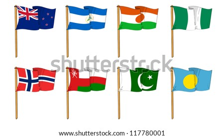 Hand-drawn Flags of the World - letter N & P