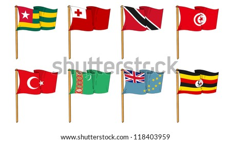 Hand-drawn Flags of the World - letter T & U - stock photo