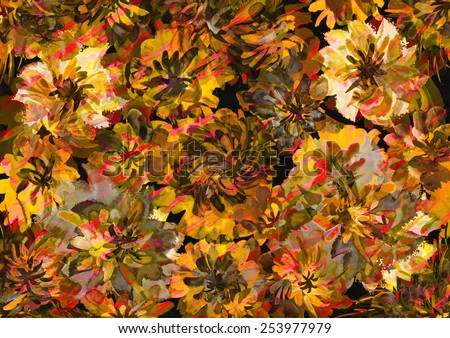 Hand drawn floral background, retro style. - stock photo