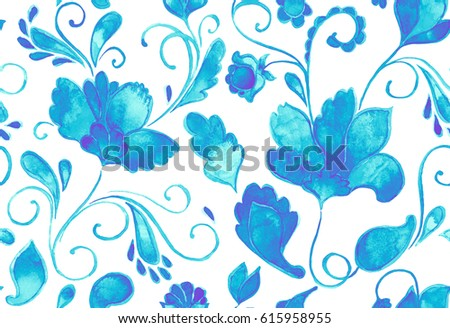 Hand drawn floral flower seamless tile. Colorful seamless pattern with turquoise blue whimsical paisley, buta, lotus. Watercolor seamless pattern for textile. Isolated objects on white background.