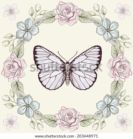 Hand drawn floral frame and butterfly. Colorful illustration. Greeting card in vintage engraving style. Raster version - stock photo