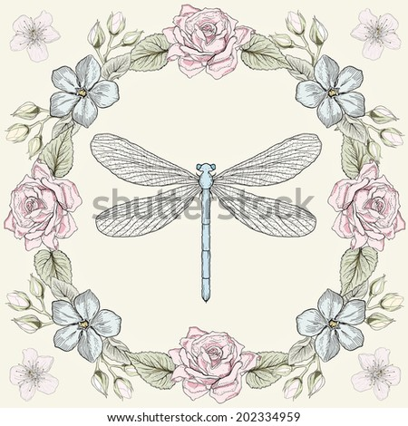 Hand drawn floral frame and dragonfly. Colorful illustration. Vintage engraving style. Raster copy - stock photo
