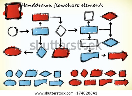 Hand-drawn flowchart elements with blue and red colored parts - raster version of vector illustration - stock photo