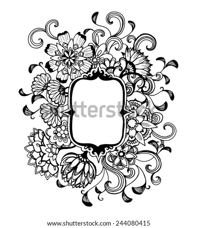hand drawn flower design frame in black ink, elegant vintage style fancy floral doodle pattern of fancy curls and line design elements on white background paper with copyspace, blank flower text box - stock photo
