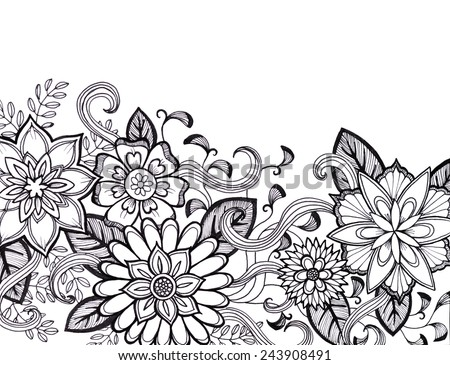 hand drawn flower design in black ink, elegant fancy floral doodle pattern with fancy curls and line design elements on white background paper with copyspace, flower art border craft idea - stock photo