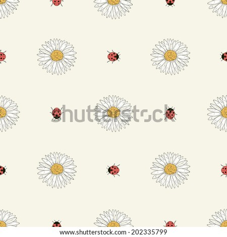Hand drawn flowers and ladybirds seamless pattern. Colorful illustration. Vintage engraving style. Raster copy - stock photo