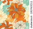Hand-drawn flowers of dahlia. Seamless  background. Raster version. - stock photo