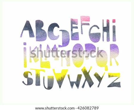 hand drawn fonts in watercolor style - stock photo