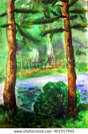 hand drawn forest landscape with pine trees and the river, watercolor painting