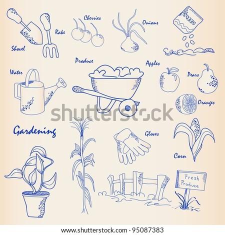 Hand Drawn Gardening Icons - stock photo