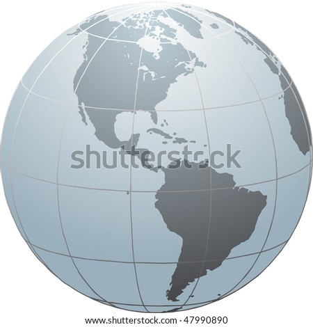 Hand drawn globe with South and North America - stock photo